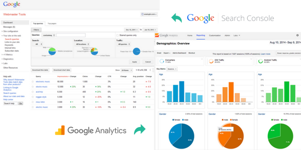 google webmaster and analytics